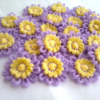 10Lilac and Yellow Crochet Knitted Decoration Applique Hairbands Flowers Daisies Scarves, Home Decor, Bags Supplies Wholesale Many Colors