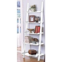 White 5-tier Leaning Ladder Book Shelf