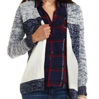Marled Geometric Cardigan Sweater by Charlotte Russe
