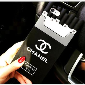 Chanel Trending Stylish Cigarette iPhone Phone Cover Case For iphone 6 6s 6plus 6s-plus 7 8plus Black I