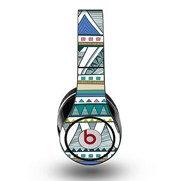The Abstract Blue and Green Triangle Aztec Skin for the Original Beats by Dre Studio Headphones