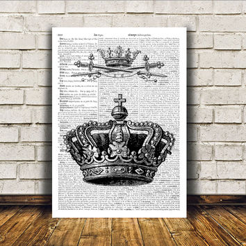Crown poster Royal print Antique art Modern decor RTA392