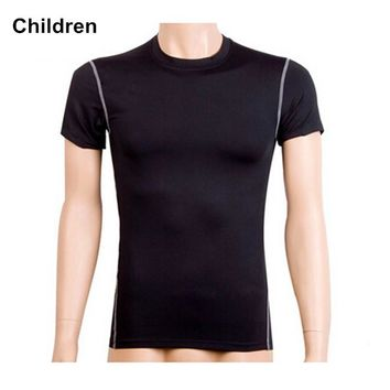 #1003 Children Kids Hiking Gym Sports Running Outdoor Compression Base Layers Under Tops Shirts Thermal Top Height 120-150cm
