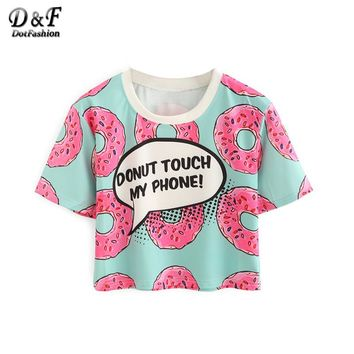 Women Contrast Crew Neck Donuts Print Crop Tops Summer Style Cute New Casual Ladies Tees Short Sleeve T-shirt