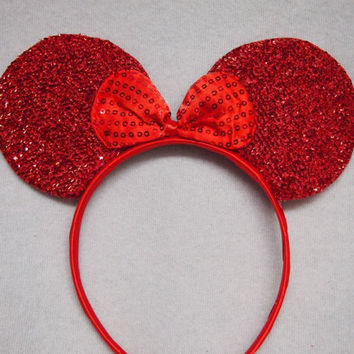 MINNIE MOUSE EARS Headband Red Sparkle Shimmer Red Sequin Bow Mickey