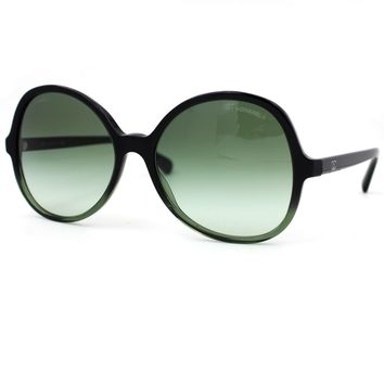 CHANEL Oversized Square Sunglasses Black and Green Frame with Gradient Lenses 5351