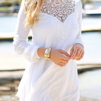 White Crochet Lace Long Sleeve Chiffon Mini Dress