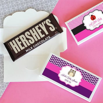 Baby Shower Candy Bar Wrapper Cover 24pc - Personalized Candy Wrappers - Baby Shower Chocolate Favors Idea - Personalized Chocolate Bar