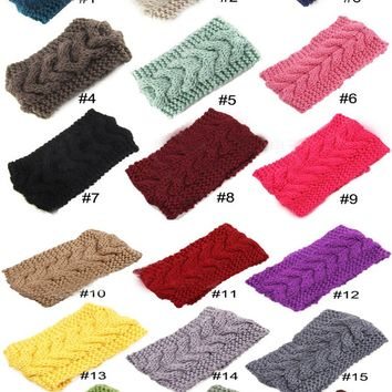 2014 New 18 colors Women Crochet Headbands girls Winter Knitted Headwraps Fashion Accessory Turband Headband for Girls Teens