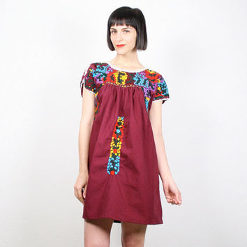 Vintage Oaxacan Dress Mexican Dress Burgundy Red Maroon Wine Rainbow Floral Embroidered Mini Dress Tent Dress Hippie Dress Boho Festival S M