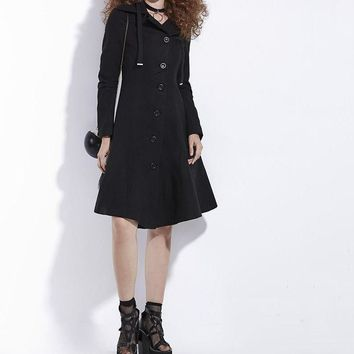 Gothic Asymmetric Coat Black Trench Retro Slim Women Autumn Fashion Overcoat Outerwear Button Preppy Vintage Goth Coats