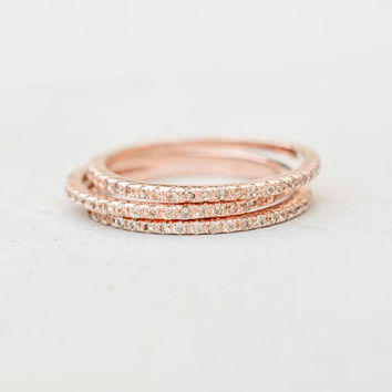 Eternity Ring Set - Rose Gold with Champagne Stones