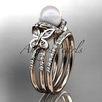 14kt rose gold diamond pearl unique engagement set, butterfly wedding ring AP141