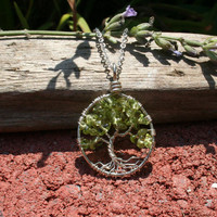 Sterling Silver Peridot Petite Tree Of Life Necklace On Chain Wire Wrapped Pendant Semi Precious Gemstone Jewelry August Birthstone