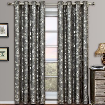 Gray 104x108 Charlotte Pair (Set of 2) Jacquard Grommet Window