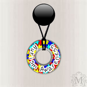 Autism Awareness Washer Necklace Resin Coated