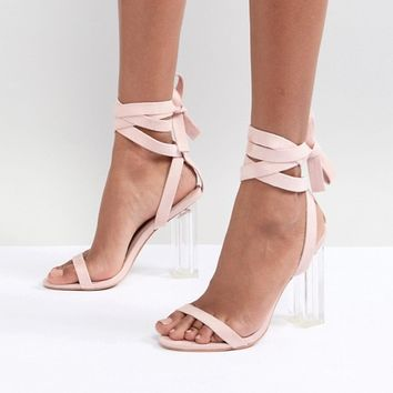 PrettyLittleThing Tie Around Clear Heeled Sandals at asos.com