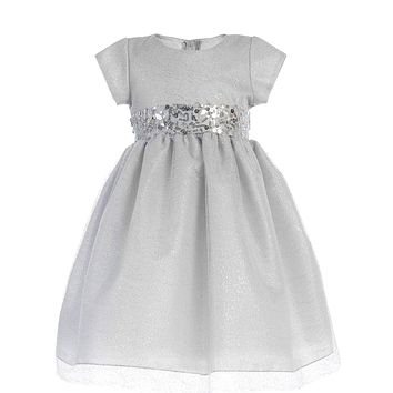 Girls Silver Shimmering Mesh Dress w. Sequin Trim 2T-7