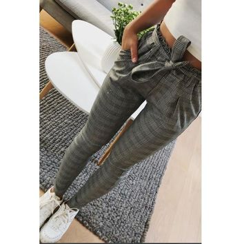 2018 New Plaid OL  high waist harem pants Women stringyselvedge Autumn style casual pants skinny female trousers