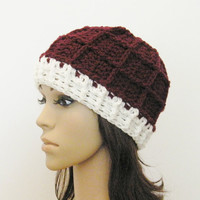 Epic Ribbed Squared Beanie - Merlot and Eggshell - Made to order - Mens and womens hat