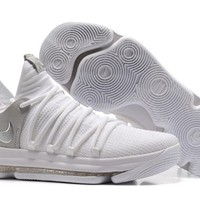 2017 Nike  Zoom KD10  Kevin Durant 10 Ⅹ  Mens White /Gray   Basketball Shoes
