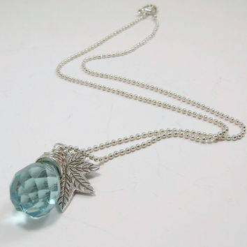 Sterling Silver Wire Wrapped Aquamarine Quartz Glass Faceted Briolette and Silver Textured Maple Leaf Pendant Charm Necklace