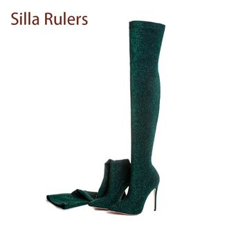 Silla Rulers Bling Sequins Over The Knee Boots Women Sexy Pointed Toe Stiletto Heel Sock Boots Fashion Thigh High Stretch Boots
