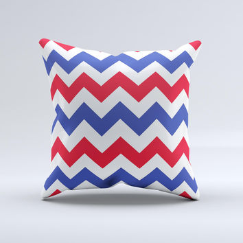 Patriotic Chevron Pattern Ink-Fuzed Decorative Throw Pillow