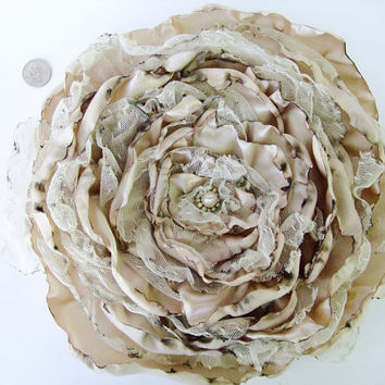 Beige Tan Flower, Wedding accessory, Fascinator, Hair Clip, Pin Brooch, Bridal Sash, Decor, Wall Flower Decor, maternity sash