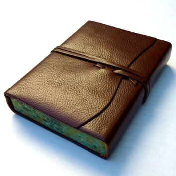 """Cavallini Roma Lussa Leather Journal, 6"""" X 8"""", Chocolate, Made in Italy"""