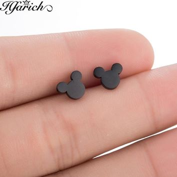 Hfarich Stainless Steel Cartoon Mickey Stud Earrings for Women Girls Kid Birthday Gift Cute Animal Mouse Earring Black Female