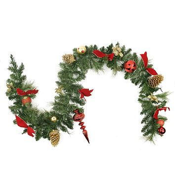 "6' x 10"" Pre-Decorated Red and Gold Ball Ornaments and Bows Artificial Christmas Garland - Unlit"