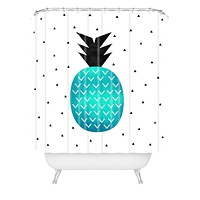 Elisabeth Fredriksson Turquoise Pineapple Shower Curtain