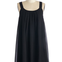 ModCloth LBD Mid-length Sleeveless Shift How Bows It? Dress in Black