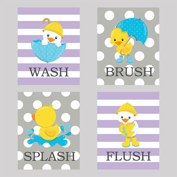 Wash Brush Splash Flush Bathroom Wall Art CUSTOMIZE YOUR COLORS, 8x10 Prints, set of 4, bath tub decor print art kids lavender and gray