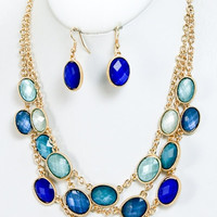 Royal Blue Shimmer Layered Statement Necklace and earrings set