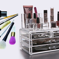 1Set Clear Make Up Box Drawers Cosmetic Organzier Jewelry Display Storage Cabinet