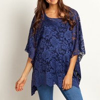 Navy-Blue-Floral-Lace-Poncho-Top