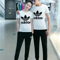 """Adidas"" Unisex Fashion Casual Letter Print Couple Short Sleeve Set Two-Piece  Sportswear"