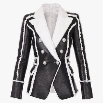 AART Women's Lion Buttons Fur Lining Synthetic Leather Blazer Jacket