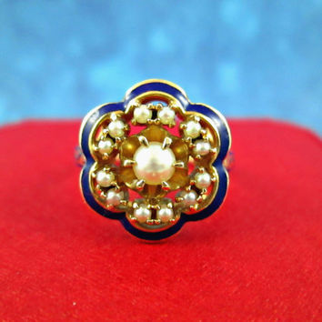 Beautiful 14k Yellow Gold Pearl Ring Royal Blue Enamel Top Edges and Sides of Shank 1940's Signed Crosby Old Europe Design Solid Well Made