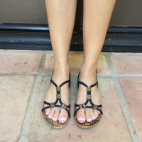 Black And Gold Detail Ximena-XY-01 Sandals