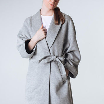 Gray Coat  Grey Coat Gray Wool Coat Spring Women Coat Kimono Coat Trendy Coat Short Coat Classy Coat Gray Outwear Wrap Coat