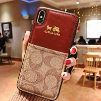 Coach Popular Women Men Personality Card Mobile Phone Cover Case For iphone 7plus 8 8plus X XsMax XR Brown