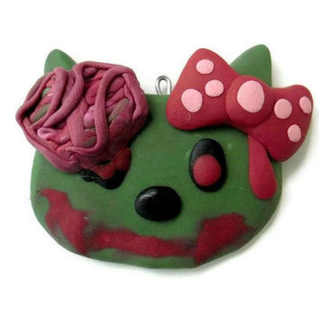 ZOMBIE HELLO KITTY Necklace by DeathwishDesign on Etsy
