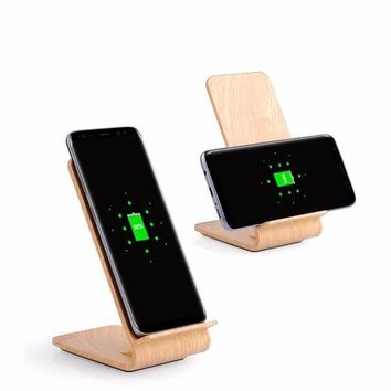 Qi Fast Wireless Charger Power Bank Black Wood Wireless Charger Charging Stand Dock Station | Wood Fast Qi Wireless Charger Stand For iPhone X, iPhone 8/8 Plus, Fast Charging for Samsung Note 8 S8 S8 Plus S7 S7 Edge S6 Edge Plus Note 5