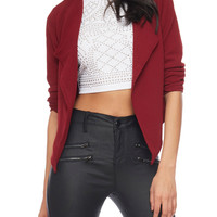 Online Exclusive - Cropped Open Front Blazer with Zip Back