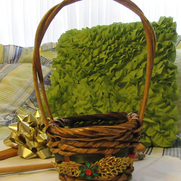 Round Woven Cottage Chic Christmas Basket - Gold Glitter Leaves and Green and Red Bling Flower Accent