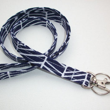 Lanyard  ID Badge Holder -  Lobster clasp and key ring New Thinner  Design - navy blue herringbone