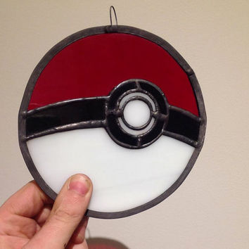 Pokeball- stained glass piece inspired by Pokemon
